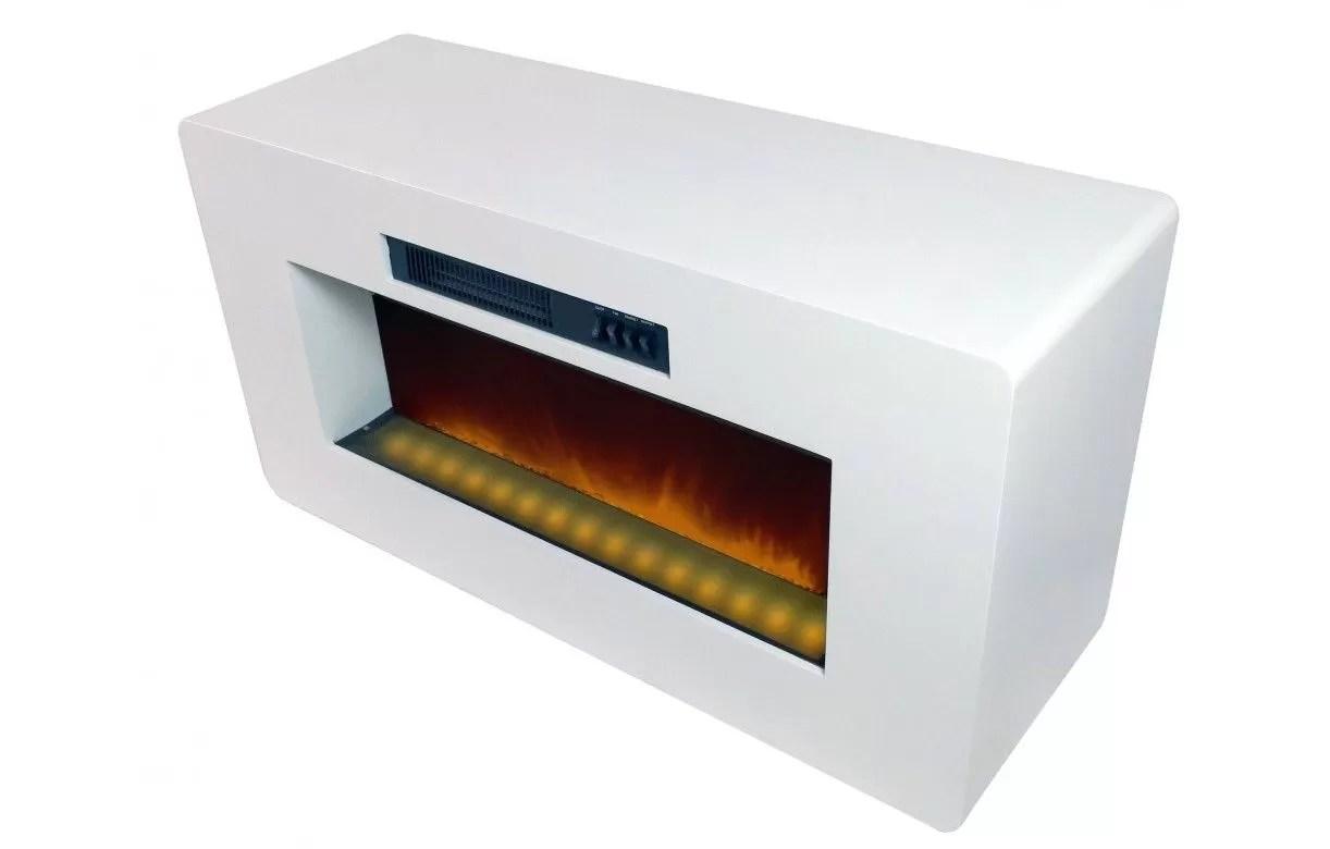 meuble tv blanc cheminee electrique
