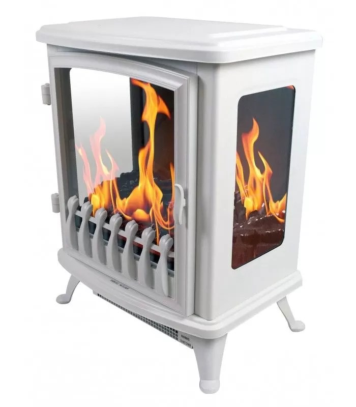 foyer cheminee electrique blanche flamme 3d fire glass