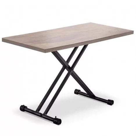 table basse relevable bois clair et pieds noirs folk