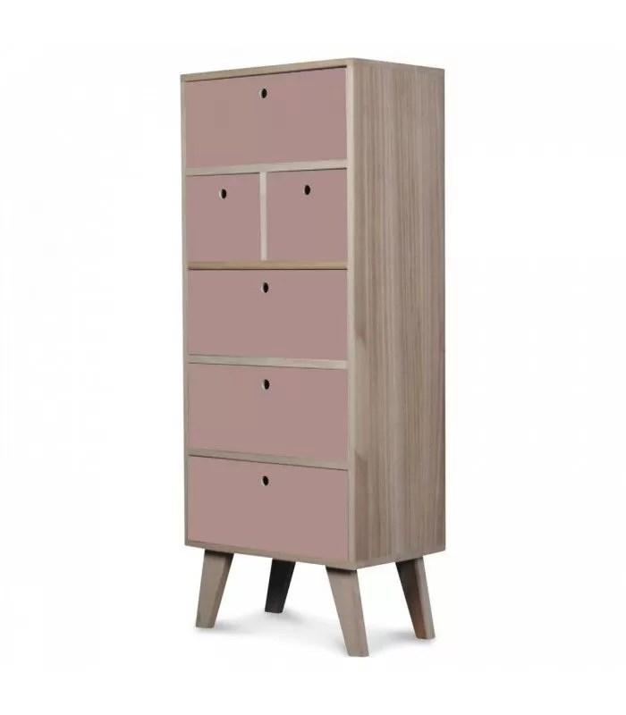 meuble scandinave rose colonne de rangement en bois 6 tiroirs boreal