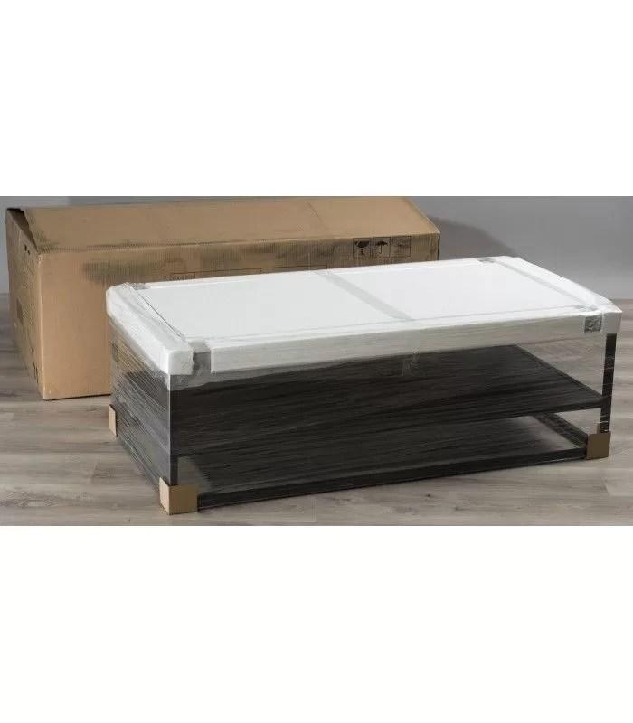 table basse noir et bois clair avec tablette mare
