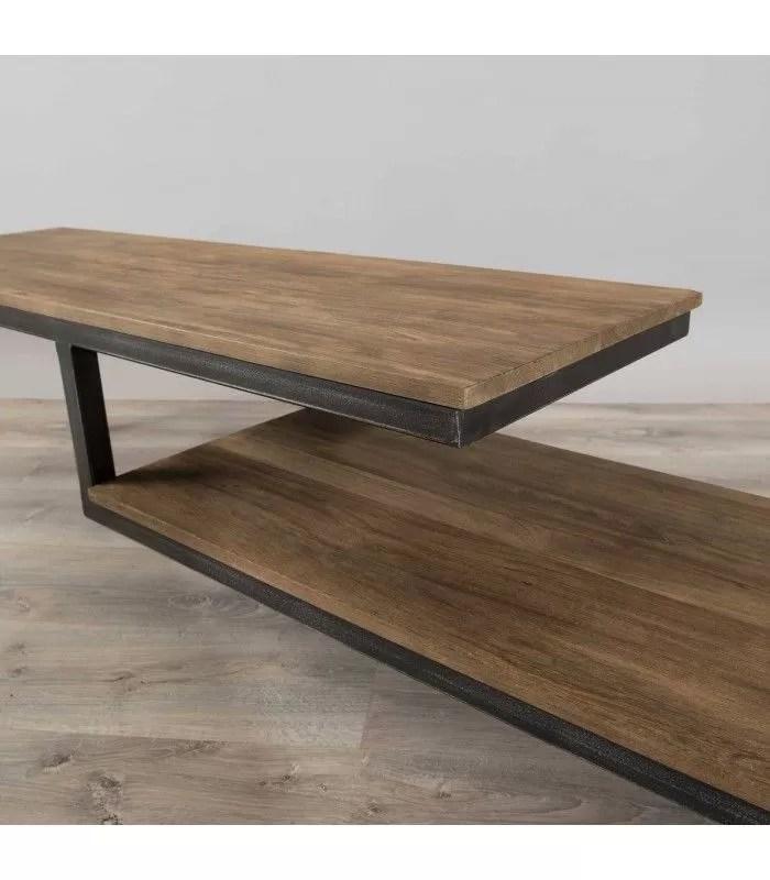 meuble tv bois massif et metal 2 niveaux sula
