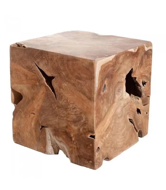 pouf cube bois massif teck 40 cm jambi
