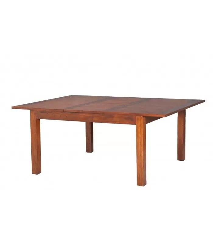 table carree rallonge 140 50 x 140 cm bois massif lorie