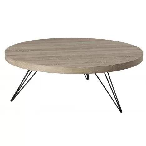 table basse ronde bois clair et pieds metal h30 cm manado