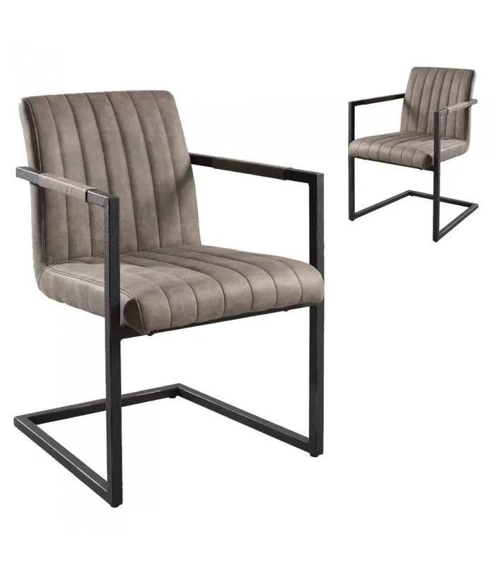 lot de 2 fauteuils de table en tissu taupe tizza