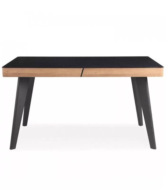 table plateau noir et bois clair l140 cm alaska