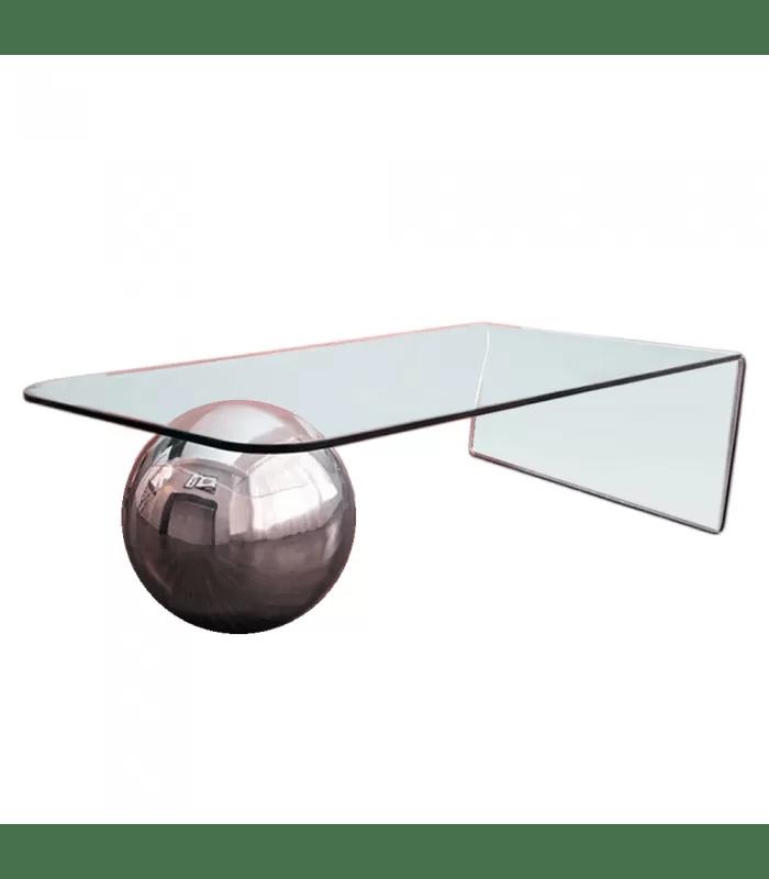 table basse en verre design avec boule chromee largy