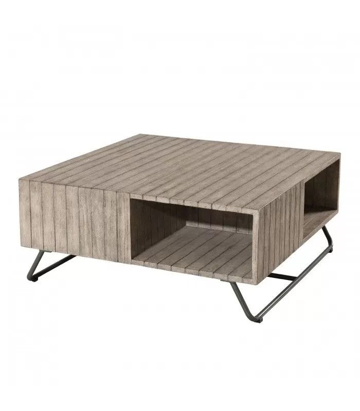 table basse exterieure en bois massif clair bursa