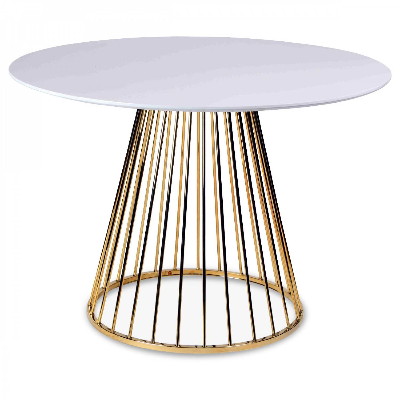 table a manger en bois blanc et pied