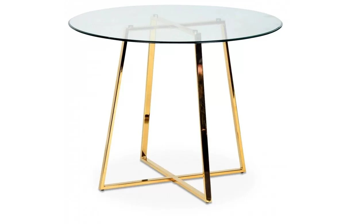 table ronde en verre avec pieds en metal chrome or francky