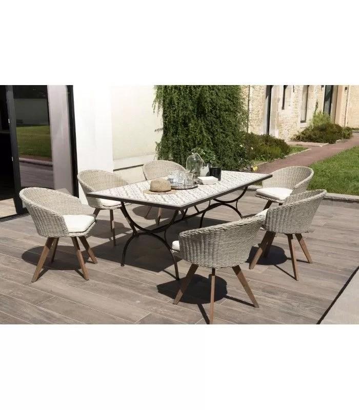 grande table de jardin mosaique avec 6 chaises en rotin nang