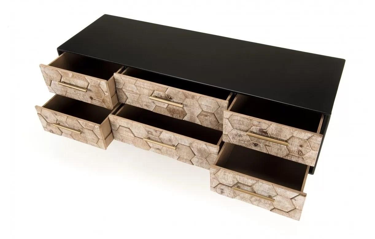 meuble tv 6 tiroirs caisson noir et