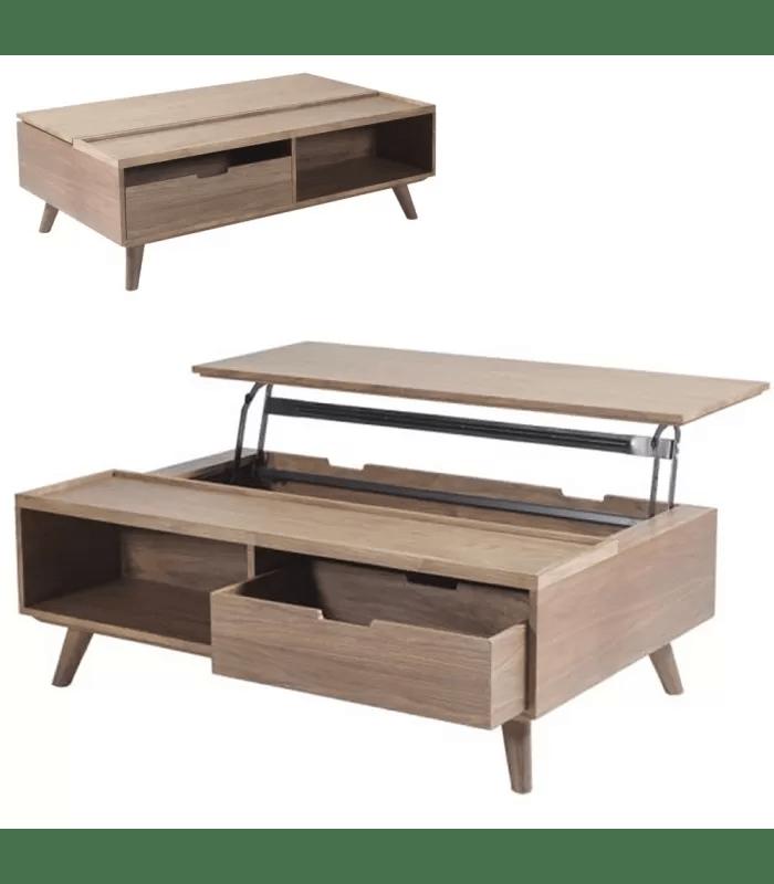 table basse coffre bois avec plateau relevable tiroir ferdina