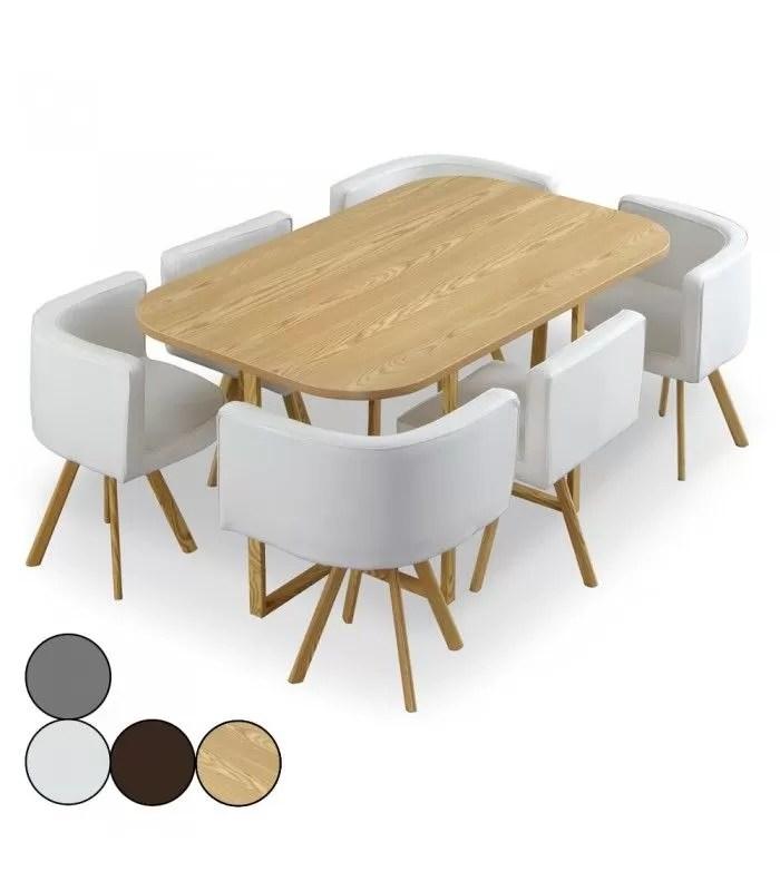 table et 6 chaises encastrables bois et simili ou tissu osly xl