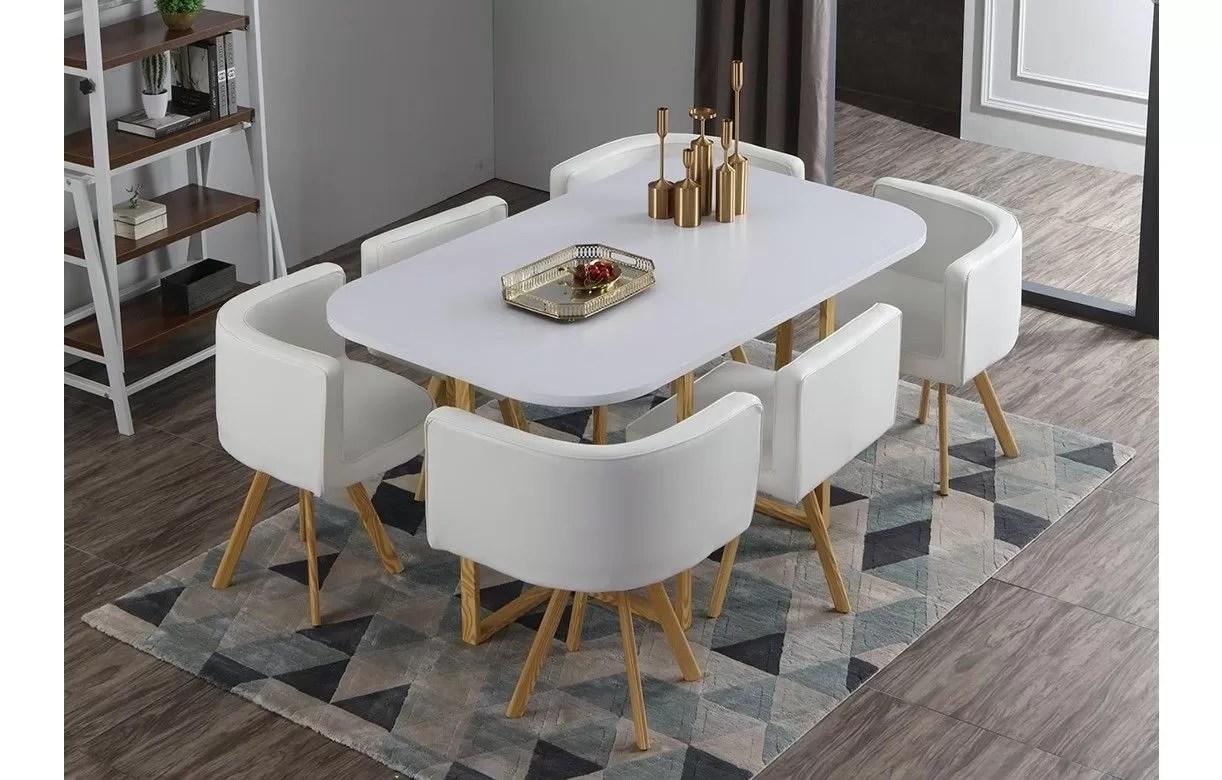 6 chaises encastrables bois