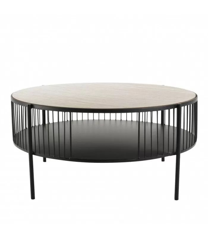 table basse ronde double plateau 80x80cm base metal cali