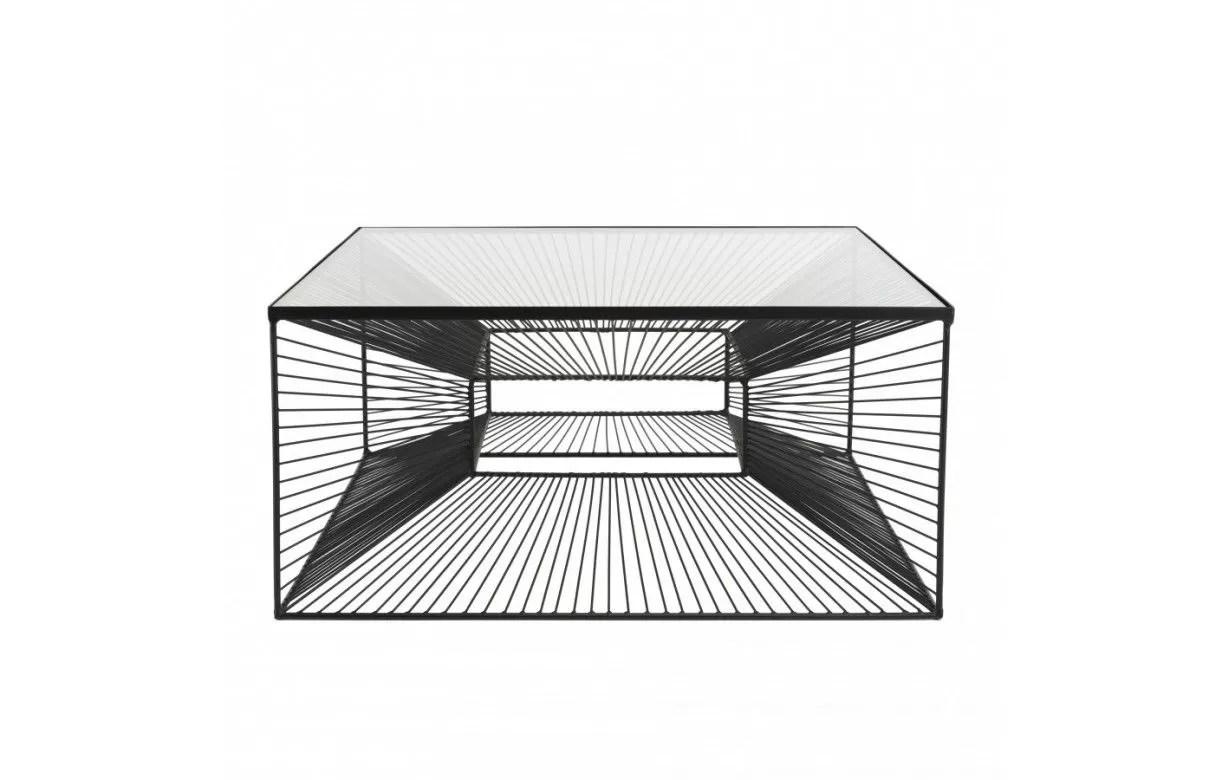 table basse carree metal noir plateau