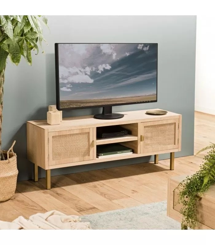 meuble tv 2 niches 2 portes toile de jute pieds metal dore tumaco