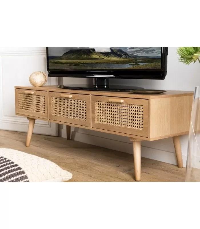 meuble tv couleur naturel 3 tiroirs cannage rotin rodrigo