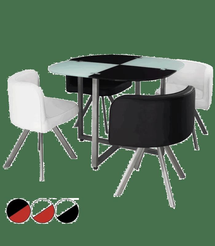 table et chaises encastrables verre et cuir bicolore 5 coloris