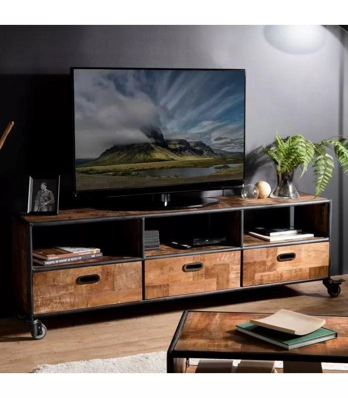 meuble tv teck massif 3 tiroirs et tablette 4 roulettes metal 175cm sula