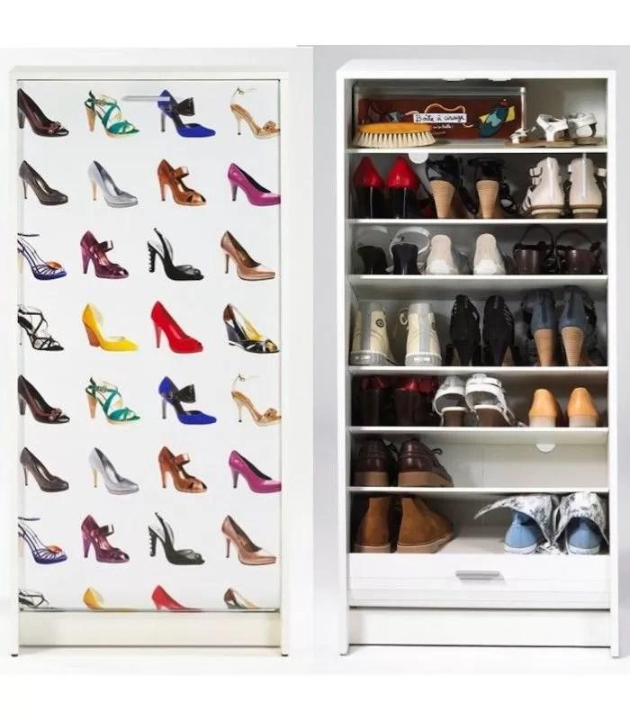 rangement pour chaussures blanc ou noir a rideau 20 paires chaussures