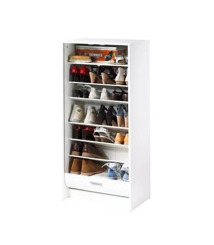 meuble a chaussures blanc 20 paires avec rideau deroulant