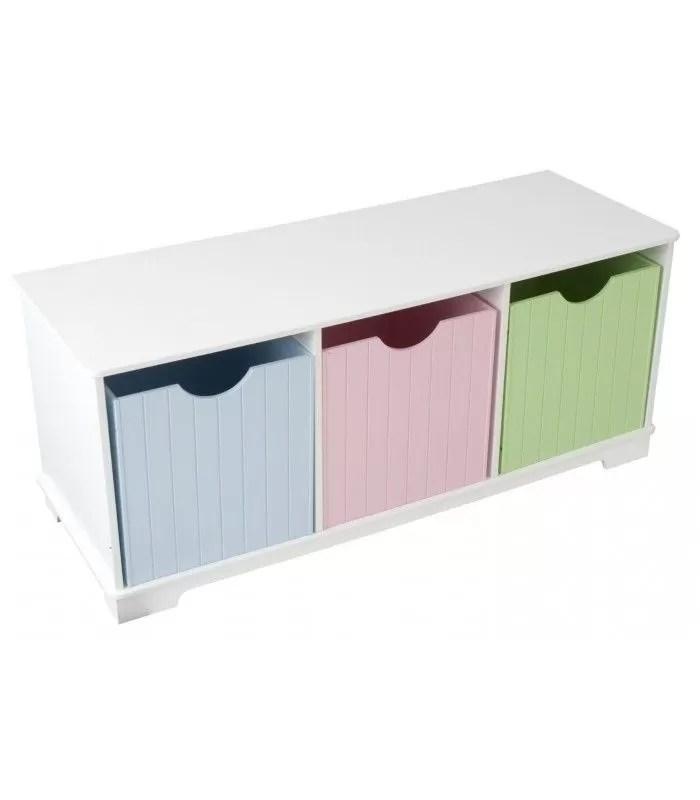 banc de rangement chambre enfant 3 cases blanc