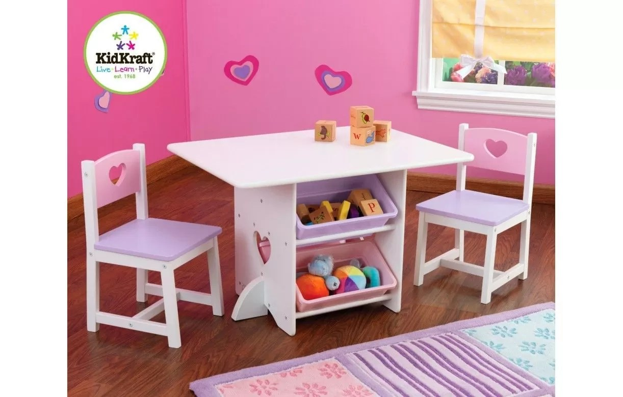 table et 2 chaises pour petite fille en