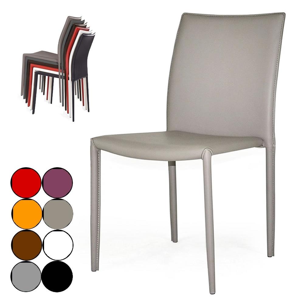 chaise empilable en simili cuir design