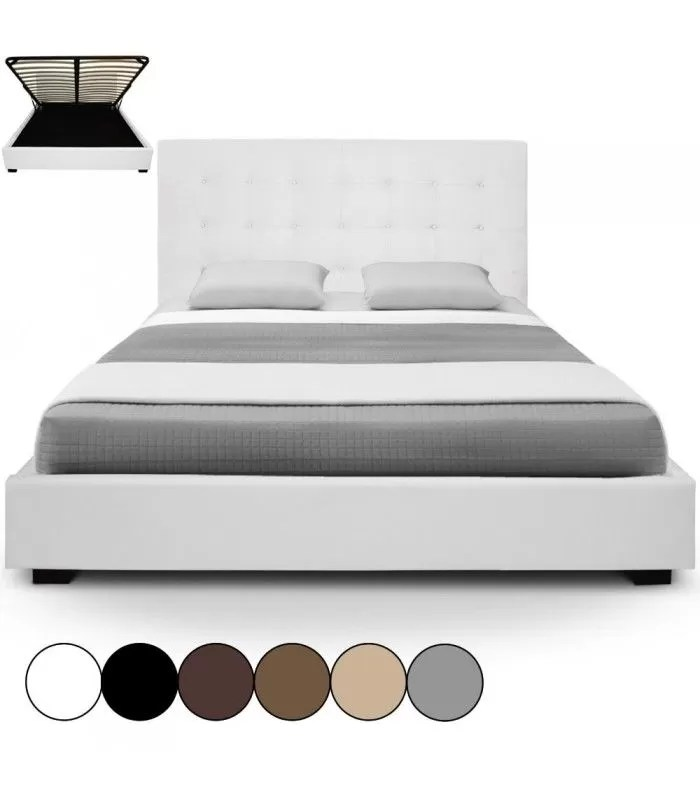 lit double caisson integre beige avec sommier relevable 180 cm trevenos 6 coloris