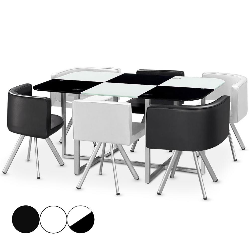 ensemble table 6 chaises encastrables