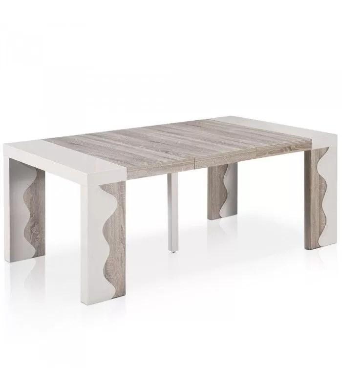 table console extensible 12 couverts ivoire et chene ariala xl