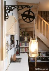 DIY luminaire pot masson poulie vintage industriel