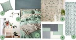 planche d'inspiration chambre vert sauge