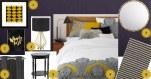 planche d'inspiration chambre chic violet