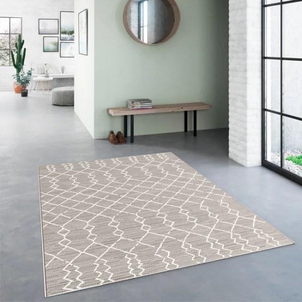 tapis gris motif azteque blanc 160 x 230 cm