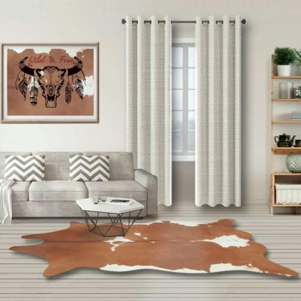 tapis imitation peau de vache marron 155 x 190 cm