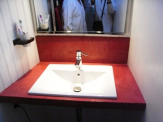 Création du plan de toilette, béton ciré.