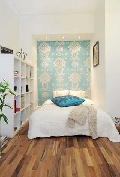 Wall Decorating With Blue Wallpaper Small Bedroom Design