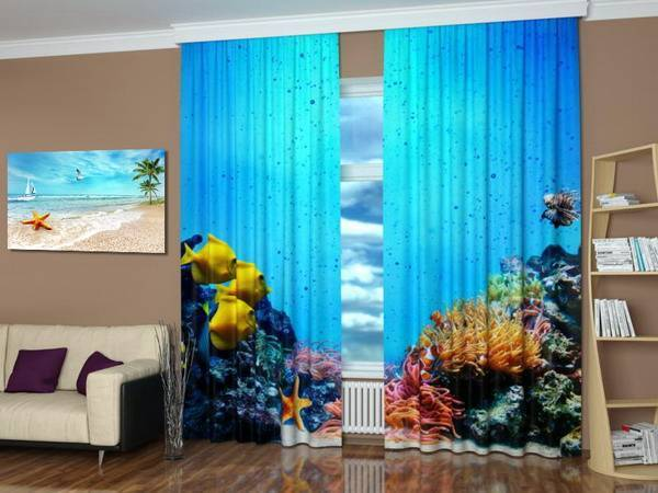 Modern Window Treatments With Art Prints Enhancing Travel Decor Theme