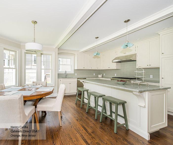 Off White L Shaped Kitchen Design With Island Decora