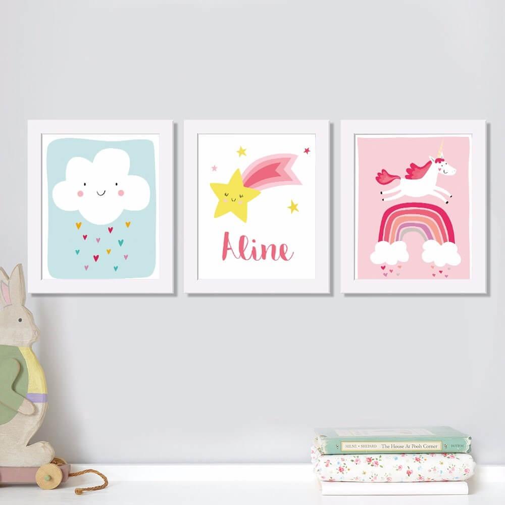 Quadrinhos coloridos para o quarto de bebê