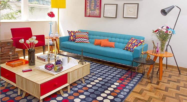 sala vermelho e azul