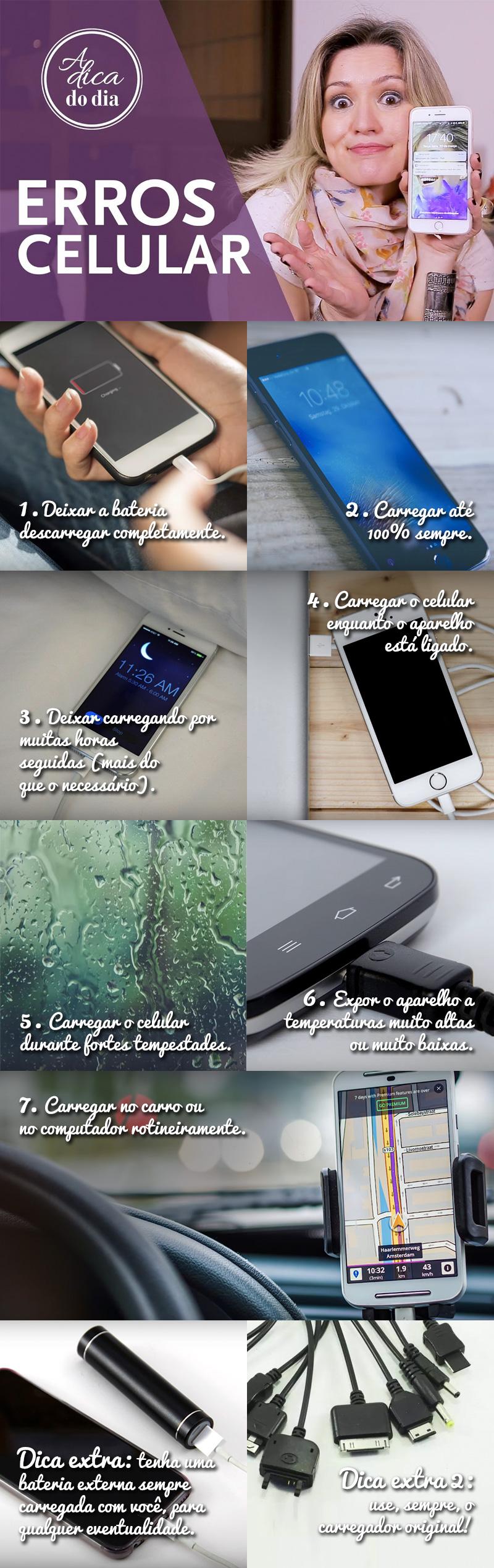 erros comuns na hora de recarregar a bateria do celular