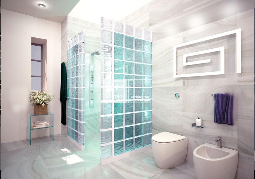 Paredes de paves bloques de cristal y vidrio decoraci n y cer mica - Bloques de vidrio para bano ...