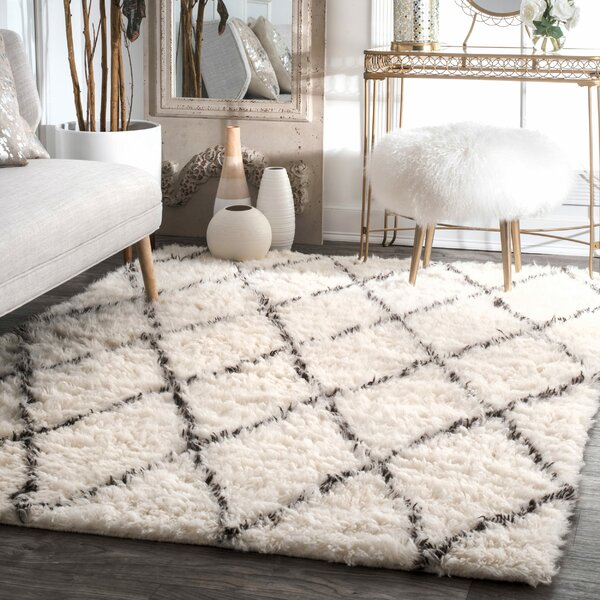 Handmade Shag Wool Beige Carpet