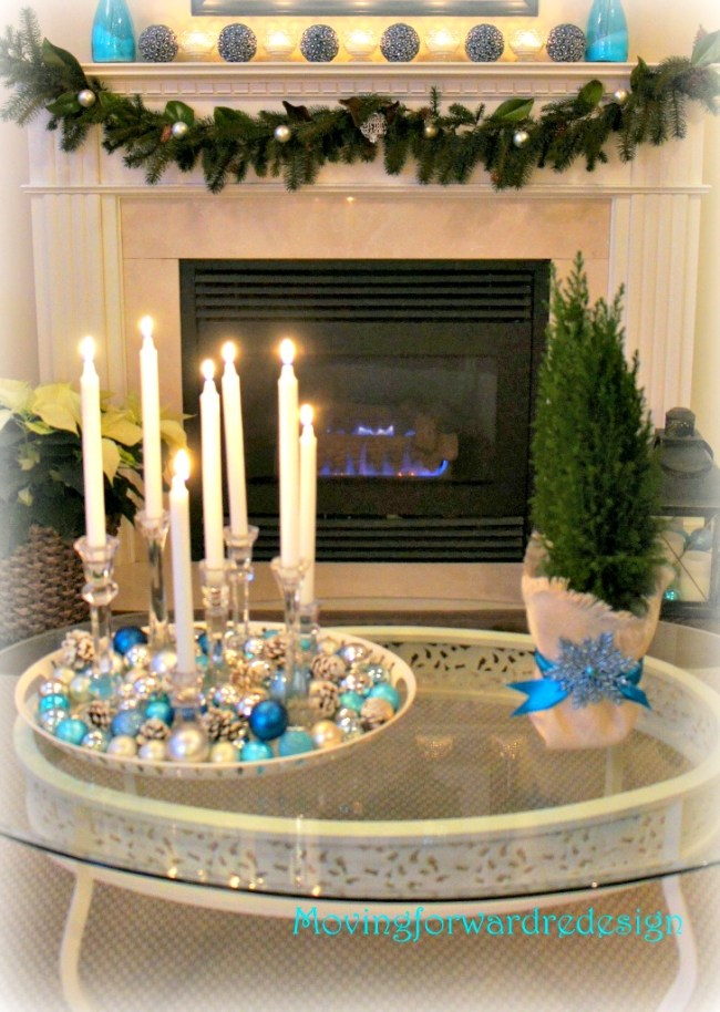 DIY Frosted Pinecones and mantel