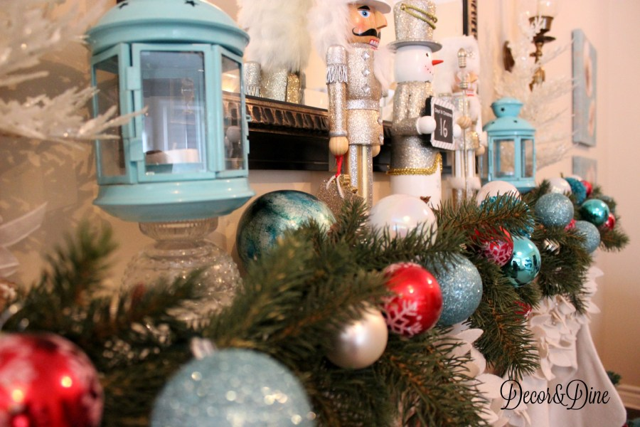 Christmas mantel, blue and red